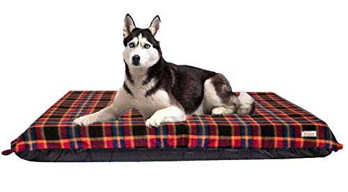 KosiPet Extra Large Deluxe High Density Foam Mattress Waterproof Dog Bed Beds Red Check Fleece