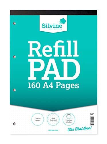 Silvine Nachfüllblock, 160 Seiten, A4, mit 4 Löchern Punktraster Einzelbett —