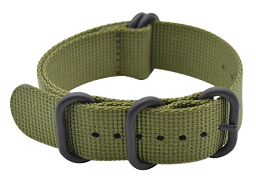 ArtStyle Watch Band with Ballistic Nylon Material Strap and High-End Black Buckle (Matte Finish Buckle) (18mm, Army Green)