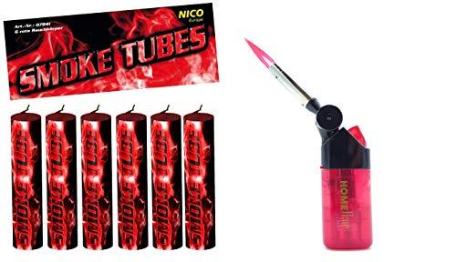 Smoke Tubes 6 X Rauchfackeln Rauchgranate Rauchbomben Rauchgenerator Raucherzeuger Rauchtopf + 1 Profi Sturmfeuerzeug von Home Flair® (Rot)