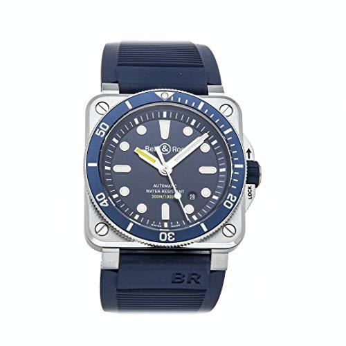 Bell and Ross Diver orologio automatico da uomo con quadrante blu, BR0392-D-BU-ST/SRB