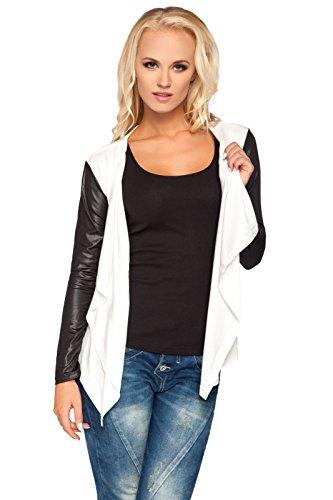 FUTURO FASHION dames Smart Jersey waterval vest nat look mouwen katoen Blazer Bolero stijl 8079