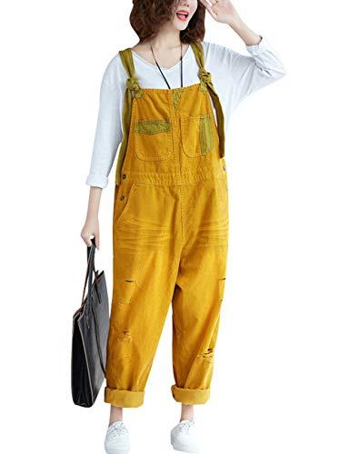 Youlee Damen Winter Herbst Verstellbarer Riemen Ärmellos Jumpsuits Latzhose mit weitem Bein Strampelhöschen Style 1 Yellow