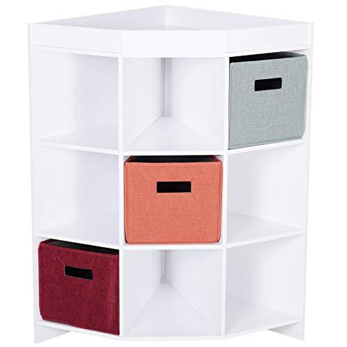 Homcom Meuble de Rangement d'angle unité de Rangement 9 niches 3 tiroirs Non tissé MDF Blanc