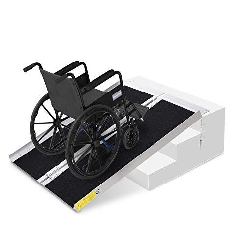 HOMCOM Rollstuhlrampe, Auffahrrampe für Rollstühle Rollatoren, Faltbare Rampe mit Tragegriff, Aluminium PVC, 270 kg Belastbar, Schwarz, 93 x 73 x 5 cm