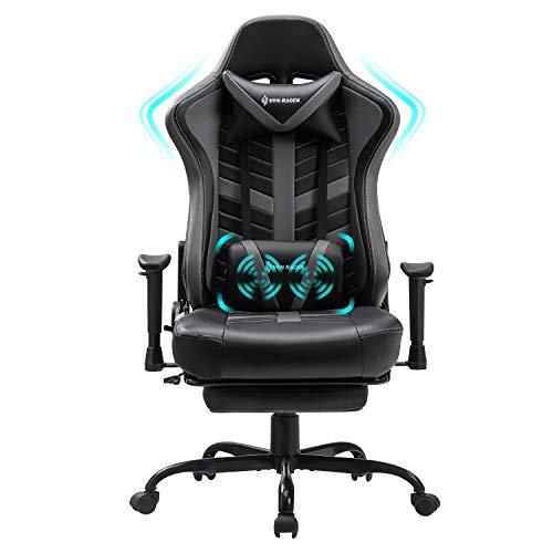 VON RACER Massage Gaming Stuhl mit Fußstütze - Racing Computer Schreibtisch Büro Drehbarer Arbeitsstuhl Ergonomischer Executive Ledersessel mit Kopfstütze Lordosenstütze Verstellbare Armlehnen (Grey)