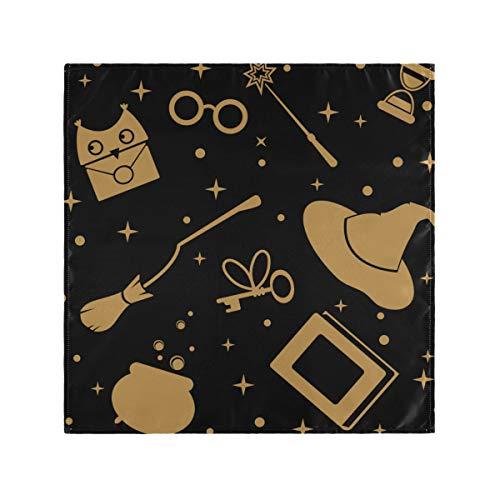 JIUCHUAN Servietten Abendessen Stoff Magic Books Brille Hut Socken und Stiefel Party Servietten 20 x 20 Zoll für Familienessen, Hochzeiten, Cocktail, Küche Geschirr Dekoration