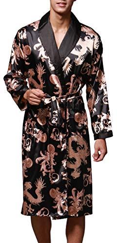 OLIPHEE Uomo Accappatoi Kimono da Notte Vestaglie Pigiama Biancheria Lighweight Gowns Nero Small(L'etichetta L)