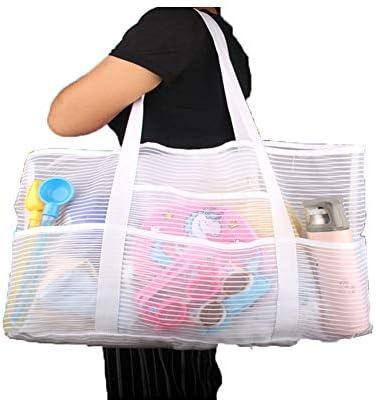 Mesh X Large Tank Beach Bag White Reusable Shopping Bag Grocery Picnic Pool product image