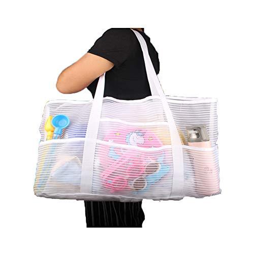 Strandtasche aus Netzstoff, wiederverwendbar, für Lebensmittel/Picknick/Pool, Weiß