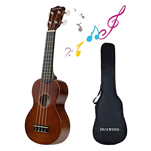 Hua Wind Ukelele soprano para principiantes Ukelele de cuatro cuerdas,21 pulgadas Madera 4 cuerdas Ukelele hawaiano Instrumento (Marrón)