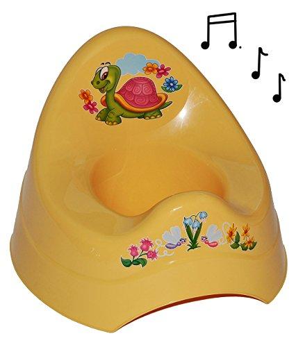 alles-meine.de GmbH Töpfchen / Nachttopf - mit Musik / Sound - groß - mit großer Lehne + Spritzschutz - Schildkröte gelb - Babytöpfchen / Kindertopf / Lerntöpfchen - Toilettentra..