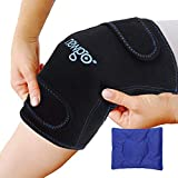 Knee Ice Pack Wrap, Reusable Hot Cold Compress Knee Brace Support with Ice Pack for Injuries, Bursitis Pain...