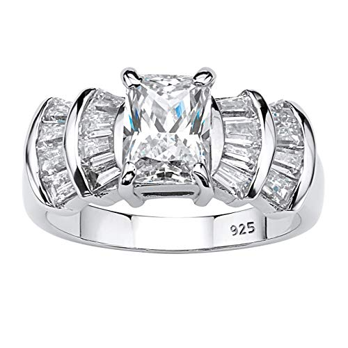 Platinum over Sterling Silver Emerald Cut and Baguette Cubic Zirconia Step Top Engagement Ring Size 8