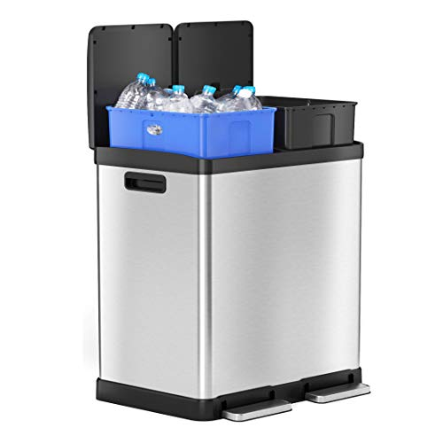 iTouchless SoftStep 16 Gallon Dual Compartment Trash Can Recycler, 61 Liter Stainless Steel 2 x 8 Gallon Color Coded Removable Inner Buckets, Soft and Gentle Open/Close Lid
