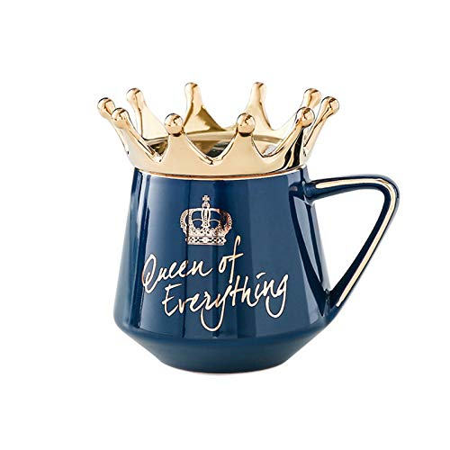 Queen of Everything Mug with Crown Lid and Spoon Ceramic Pot Belly Ceramic Cup Coffee Cup Gift for Girlfriend Wife