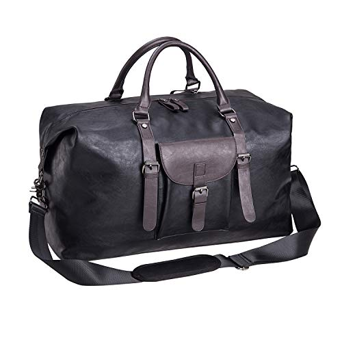 Oversized Leather Travel Duffel Bag, Weekender Overnight Bag Waterproof Leather Large Carry On Bag Travel Tote Duffel Bag for Men or Women-Black