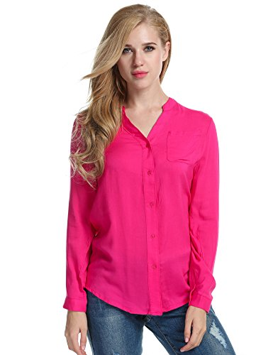 Meaneor Damen Klassic Hemd Beiläufig Bluse Schluppenbluse Langarm Shirt blusenshirt Loose fit