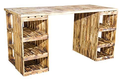 Schreibtisch mit geflammten Holzkisten & Holzplatte 150x70x75cm - Weinkisten Obstkisten Apfelkisten Holz Kiste Retro Vintage Geflammt Flambiert