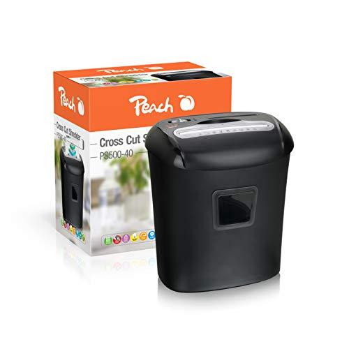Peach PS500-40 Partikelschnitt Aktenvernichter, 10 Blatt, 21 Liter, 5 x 16 mm Partikel (P-4), Papier, CDs, Kreditkarten, leistungsfähiger Partner, DSGVO 2018, Sicherheitsstufe 4