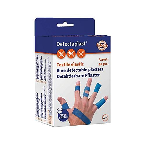 Detectaplast Pflaster wasserfest Elastic, blaue Wundpflaster für Lebensmittelbereich, detektierbare Pflaster für Erste Hilfe, 9 x 38, 19 x 72, 25 x 72, Fingerkuppe und Gelenk, 40 Stück