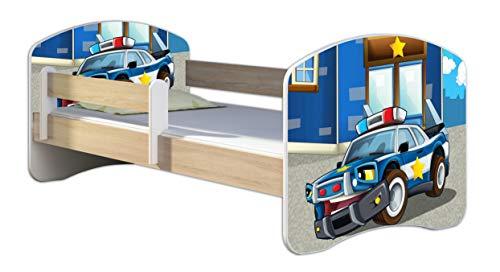 Kinderbett Jugendbett mit einer Schublade und Matratze Sonoma mit Rausfallschutz Lattenrost ACMA II 140x70 160x80 180x80 (38 Polizei, 140x70)