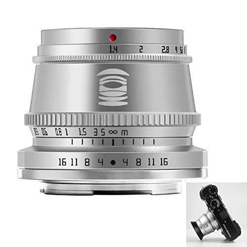 TTArtisan 35-mm-F1.4-Objektiv,APS-C-Kameraobjektiv mit manuellem Fokus Kompatibel mit Fuji X XA XM X-H1 X-T1 X-T2 X-T20 X-T3 X-T4 X-T100 X-T200 X-PR0 XE XS10 und mehr (Silber)