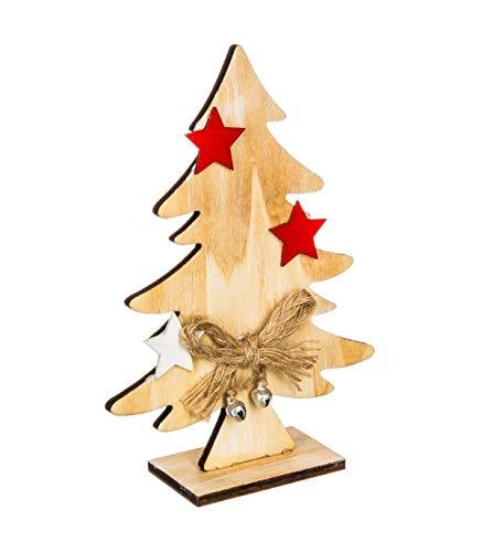 Féérie Lights & Christmas Sapin de Noël Nœud et Etoile - 10,5 x 3,5 x 15 cm - Or