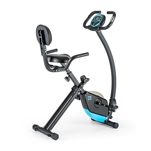 Capital Sports Trajector Bicicleta estática ergómetro Plegable (Masa giratoria 3 Kg, 8 Niveles Resistencia, pulsómetro, Monitor Entrenamiento, indicador Velocidad, Bici Azul)