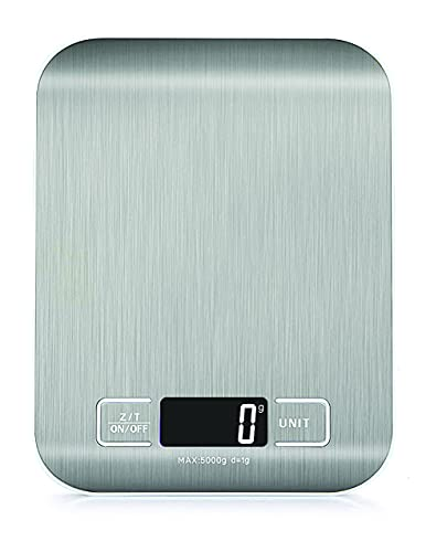 Digital Kitchen Scales Food Scale with stainless steel Platform Electronic Cooking with Backlit LCD Display Multifunction for Home Office Use 5kg 1g 11lb