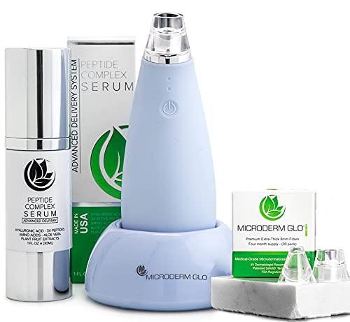 Microderm GLO MINI Premium Skincare Bundle - Includes Blackhead Remover Vacuum Tool, 8mm Filters 30 pack, Peptide Complex Serum. Best Anti Aging Treatment Black Head Remover and Pore Extractor Kit