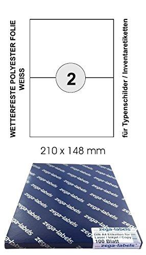 200 Etiketten 210 x 148 mm wetterfeste Polyester Folie weiss matt stark haftend auf DIN A4 Bögen (1x2 Etiketten DIN A5) - 100 Blatt Pack - Universell für Laser/Farblaser einsetzbar - 2-teilig