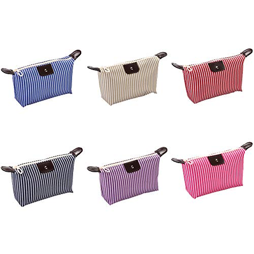 USUNQE Pack of 6 Striped Cosmetic bag Makeup Organizer with Zipper for Travel Home Outdoor