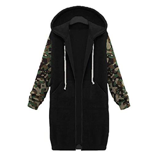 Women Warm Zipper Open Hoodies Camouflage Sweatshirt Casual Long Coat Plus Size Jacket Tops Outwear with Pockets