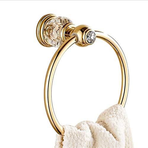 QAZ gouden ingelegd kristal grote diamanten handdoek ring handdoek rek gepolijst flens goud badkamer toilet