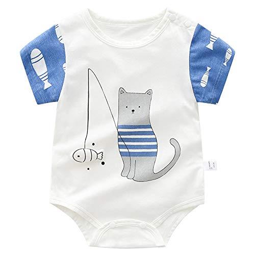 Treer Strampler Baby Mädchen und Jungs, Spielanzug 100% Baumwolle Sommer Babybody Baby Kurzarm-Body für Neugeborene Weich Short-Sleeve Bodysuits (80cm,Blaues Fischen)
