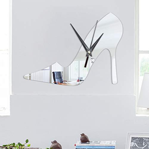 TAOZIAA 3D DIY Moderne Klokken Home Decor Horloge Mechanisme Dames Hoge Hakken Schoenen Zilver Spiegel Muur Klokken Relogio