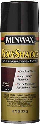 Minwax 313800000 Polyshades - Stain & Polyurethane in 1 Step, 10.75 ounce Spray, Bombay Mahogany, Satin