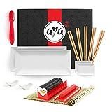 Kit de Preparación de Sushi - El AYA Sushi Lover - Kit para Servir Sushi Completo con AYA Sushi Maker, Nigiri Maker, Estera de Bambú, 2 Platos de Sushi y Salsa, 5 Palillos con Soportes
