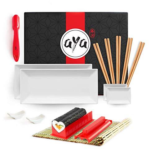 AYA Kit per Fare Sushi - The Sushi Lover Set - Kit per Servire Sushi Completo Sushi Maker, Nigiri Maker, Tappetino in bambù, 2 Piatti Sushi, 2 Piatti Salsa, 5 Bacchette e 2 Porta Bacchette