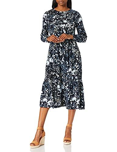 TOM TAILOR Damen 1024015 Volant Kleid, 26408-Navy Bigger Flower Design, 44