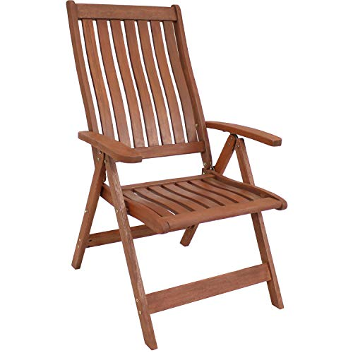 Sunnydaze Meranti Wood Outdoor Arm Chair with Teak Oil Finish - Multi-Positional Modern Rustic Outdoor Chair - Comfortable Patio Seating - Perfect for The Front Porch, Backyard, Patio or Balcony