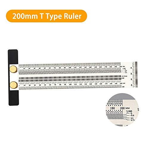 Regla de precisión, bisagra de acero inoxidable, regla de precisión, regla de precisión de Incra T-ruler, regla de ángulo recto, regla de medición, regla para carpintería 200mm