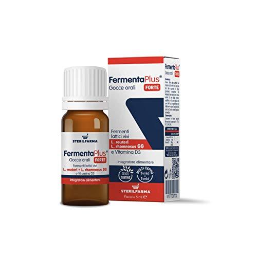 (5 Unità) Fermenta Plus Forte, integratore alimentare con Probiotici e Vitamina D. Ceppi Probiotici (Lactobacillus reuteri e Lactobacillus rhamnosus)