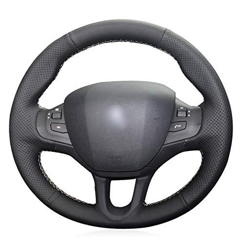 Funda Volante Coche Cubierta del Volante de Cuero Cosida a Mano DIY Antideslizante Transpirable, para Peugeot 208 2011-2019 2008 2013-2019 308S 2015