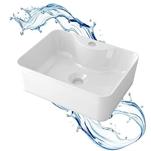 STARBATH PLUS - Lavabo sobre encimera rectangular blanco sin taladro grifo - Encimera baño - Lavabo sobre encimera cerámica - 41 x 31 x 13 cm