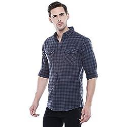 Dennis Lingo Mens Checkered Grey Slim Fit Casual Shirt