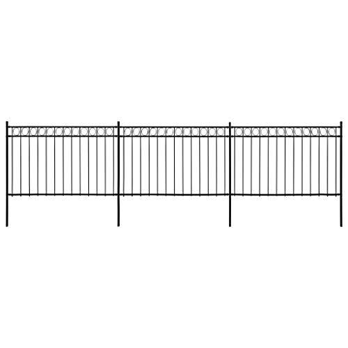 vidaXL 3x Pannelli di Recinzione con 4 Pali Struttura Divisoria per Esterni Recinto Giardino con Montanti in Acciaio 6x2 m Nero