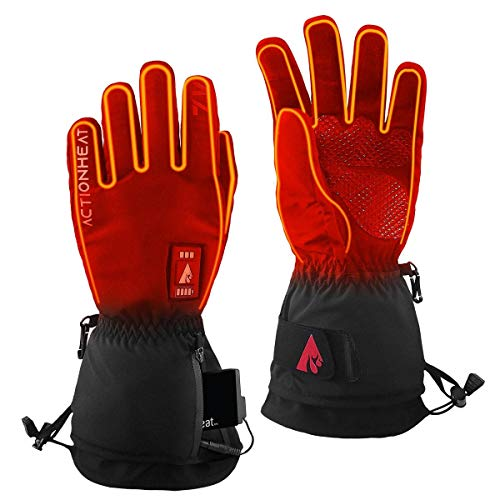 ActionHeat 7V Everyday Heated Gloves for Men – Electric Rechargeable Battery Heating Gloves with 3 Heating Levels – Hand Warming Winter Gloves for Skiing, Walking, Motorcycle Riding or Everyday Use