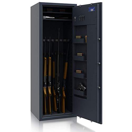 SafeHero Waffenschrank Klasse 1 EN 1143-1 Secureo Hawk 16 XL | Schlüsselschloss | für 16 Langwaffen und Kurzwaffen inkl. Munition | 1500x550x450 | 175 kg